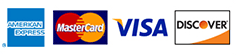 American Express, MasterCard, VISA, Discover Cards